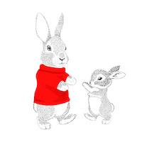 Serviettes Bunny family red 33x33 cm